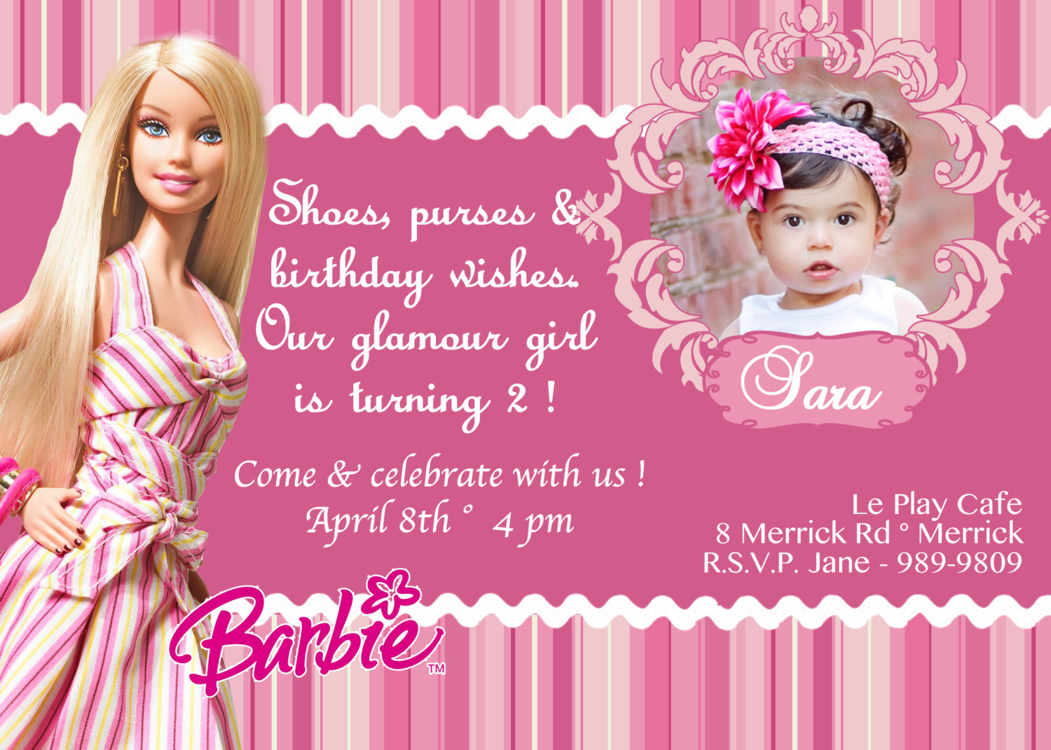 barbie theme birthday invitation card ; 6f55538f7e688c18f325eeefa273aade