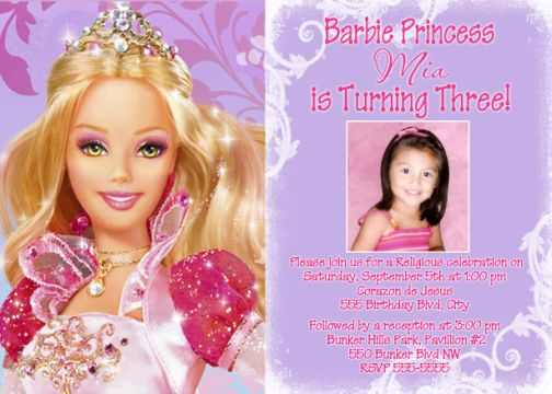 barbie theme birthday invitation card ; BARBIE_03