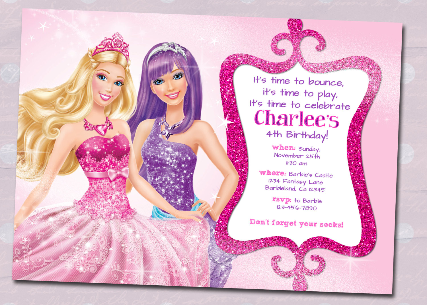 barbie theme birthday invitation card ; Barbie-Birthday-Invitations-to-inspire-you-on-how-to-create-your-own-Birthday-invitation-1