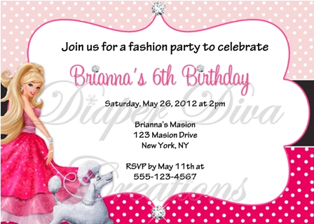 barbie theme birthday invitation card ; BarbieInvitation