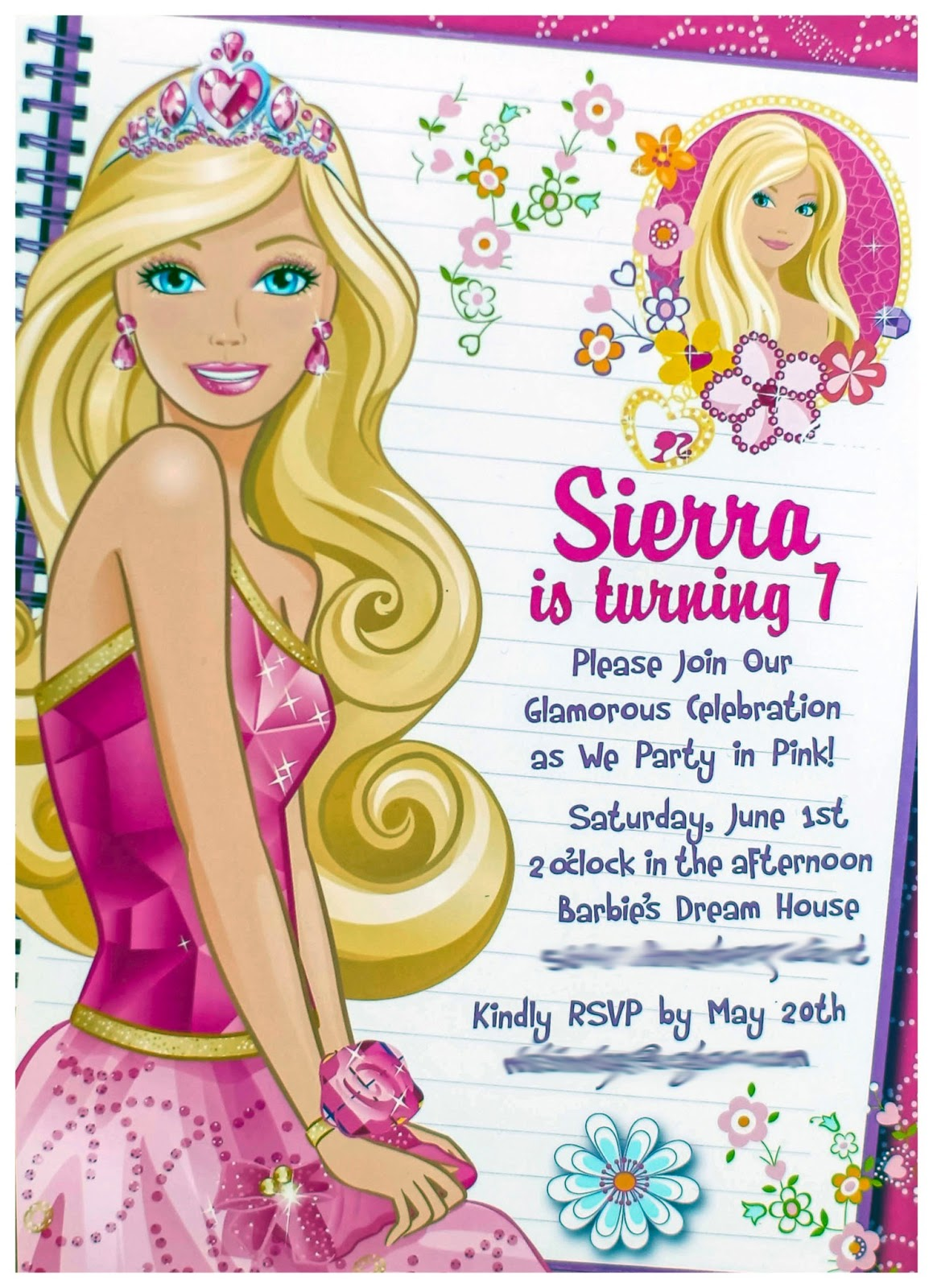 barbie theme birthday invitation card ; Pink-Barbie-Birthday-Party-Virginia-Photographer-Limefish-Studio-WEB23