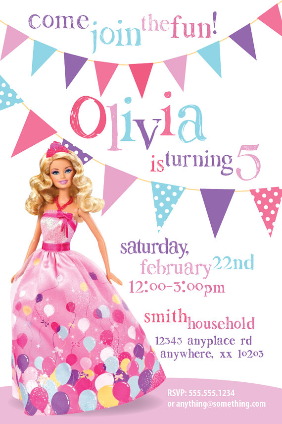 barbie theme birthday invitation card ; ac68d700c836cbb052a48ac749daf056