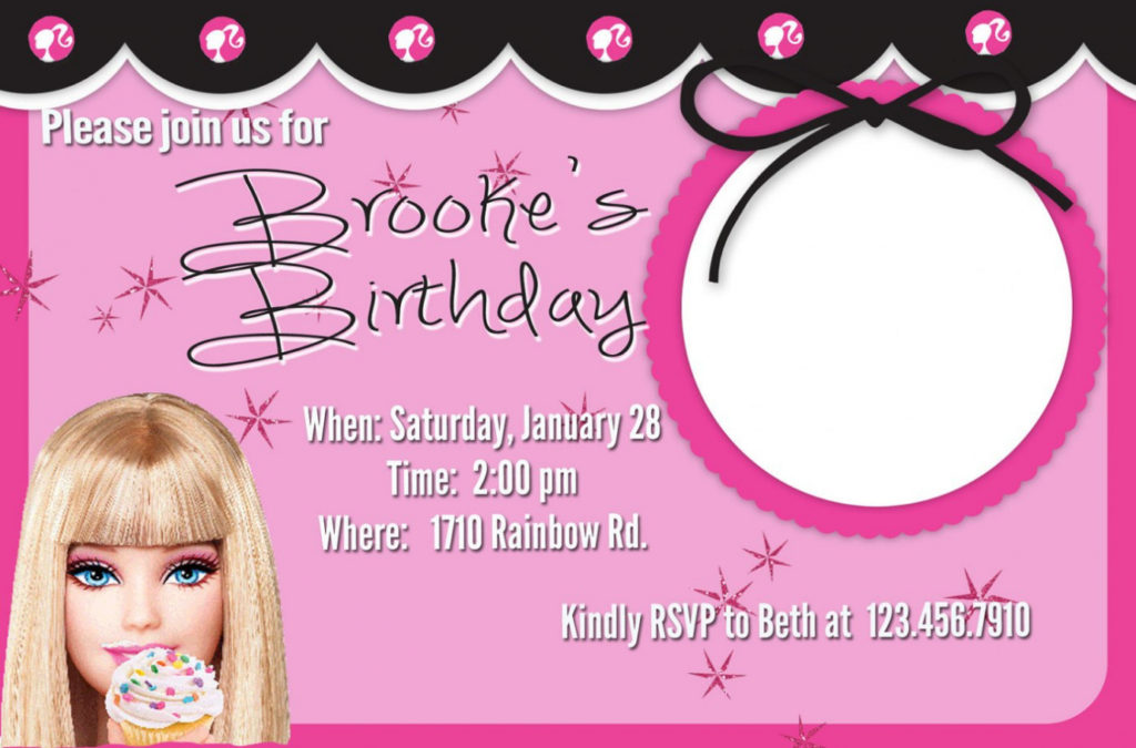 barbie theme birthday invitation card ; barbie-birthday-invitation-card-template-party-invitations-ideas-barbie-birthday-invitation-cards-1024x675