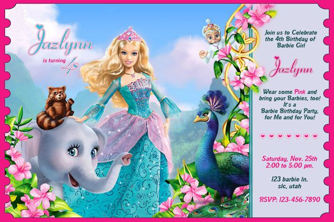 barbie theme birthday invitation card ; e9773e7f609e0360f80ff96e8d4e89c2