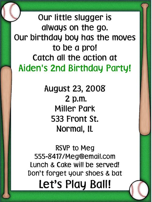 baseball themed birthday party invitation wording ; 701l