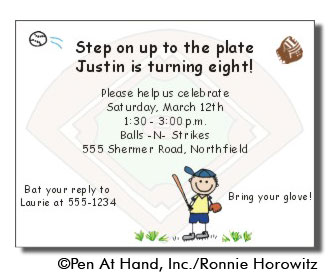baseball themed birthday party invitation wording ; InvBaseball