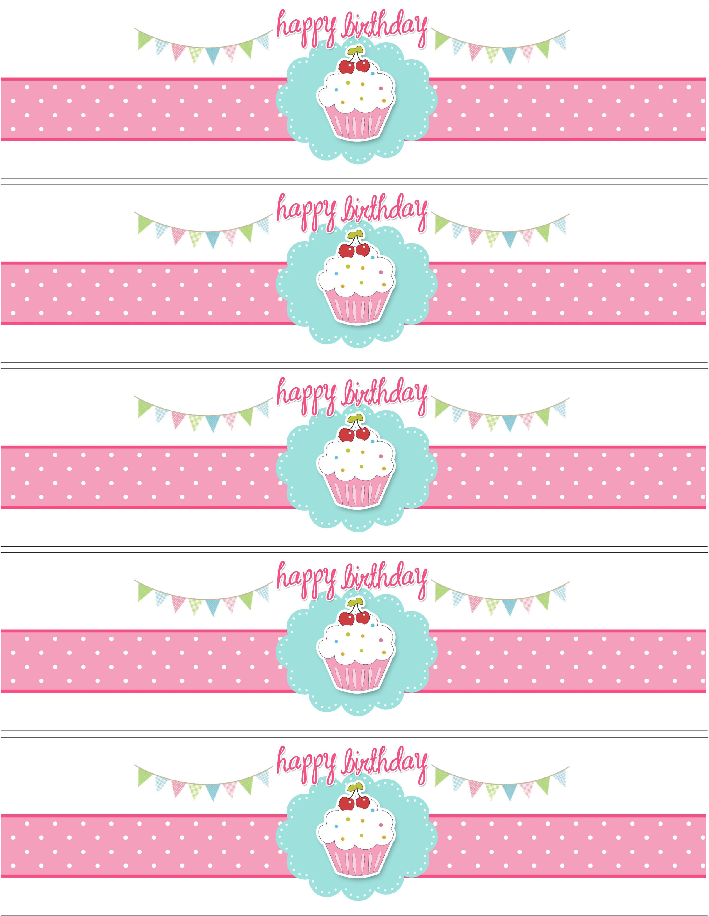 bday labels ; cupcake-water-bottle-labels