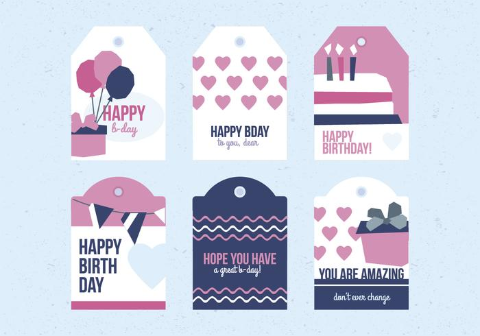 bday labels ; vector-birthday-labels-set