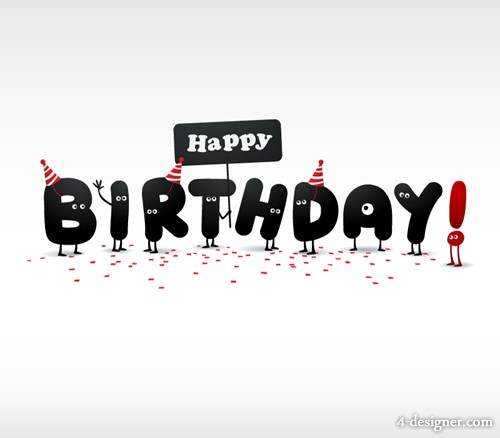 bday poster design ; Cartoon-birthday-poster-dimensional-vector-alphabet-material-51875
