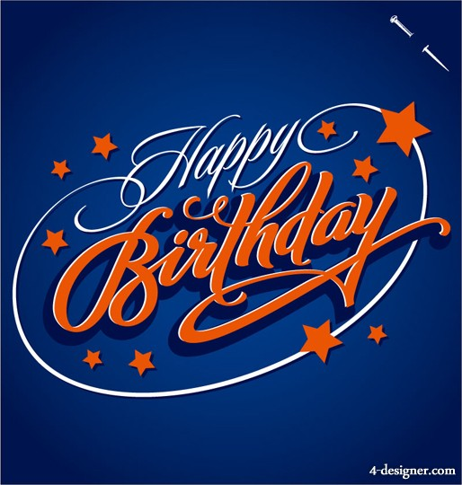 bday poster design ; WordArt-birthday-poster-trend-vector-material-51872