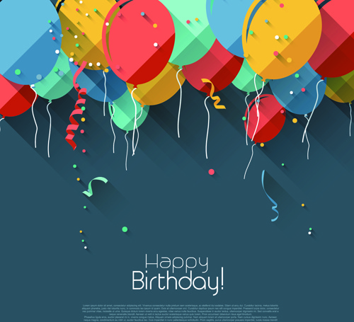 bday poster design ; colored_confetti_with_happy_birthday_gray_background_vector_547420