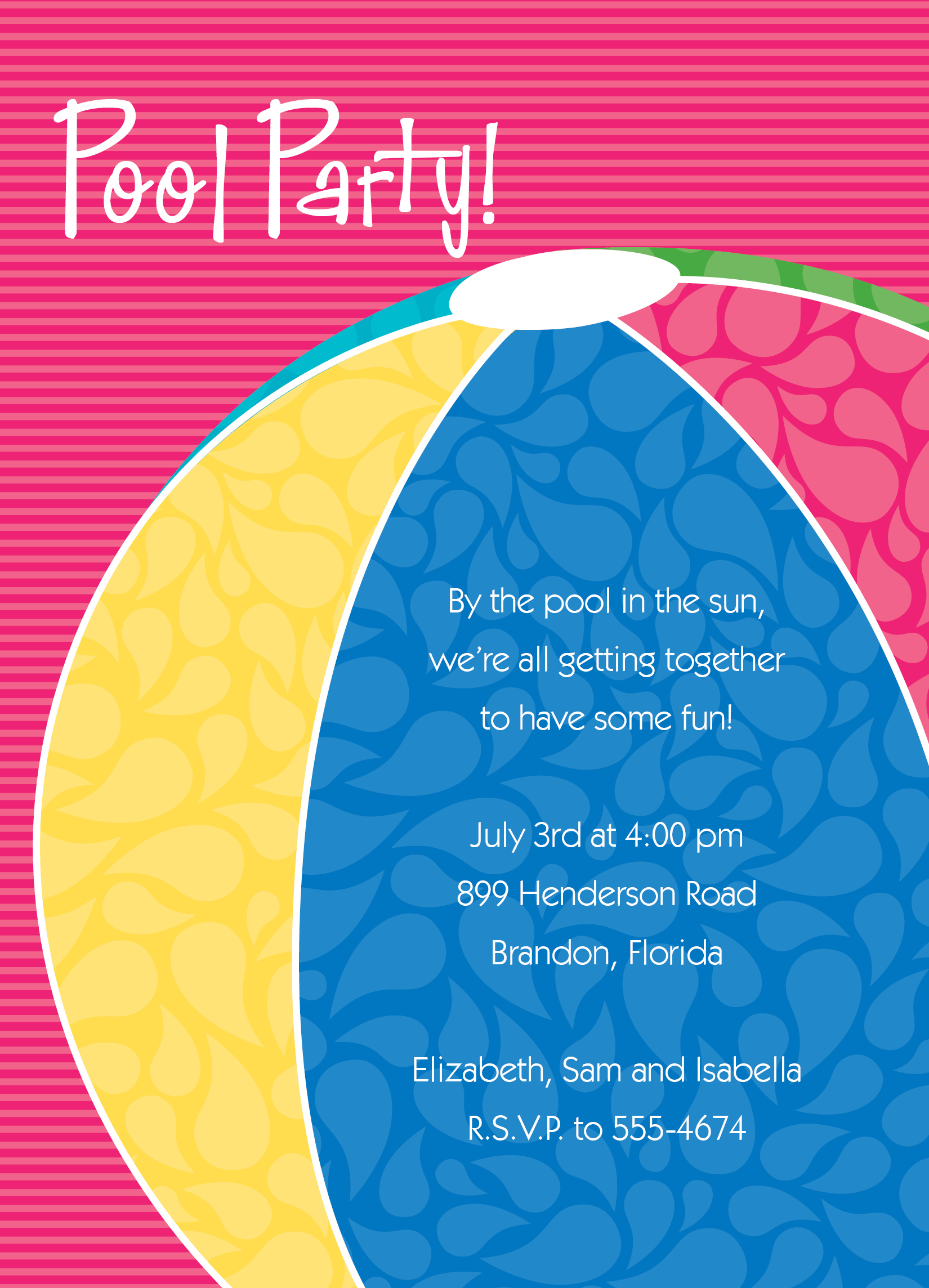 beach themed birthday party invitation wording ; Wonderful-Pool-Birthday-Party-Invitations-with-Pink-Background-Colors-and-Colorful-Ball-Art-Card-also-White-Fonts-Colors