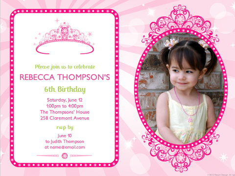 best birthday invitation card design ; Example-Of-Choice-Personalized-Birthday-Invitations-Pink-Line-Patern-With-An-Interesting-Design-For-a-Childs-Cute-Dear