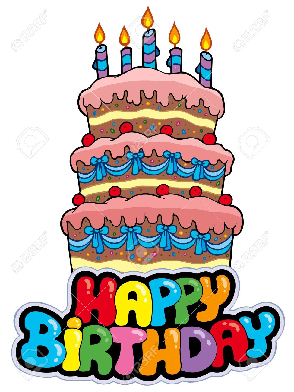 big happy birthday sign ; 7929323-happy-birthday-sign-with-tall-cake-illustration-