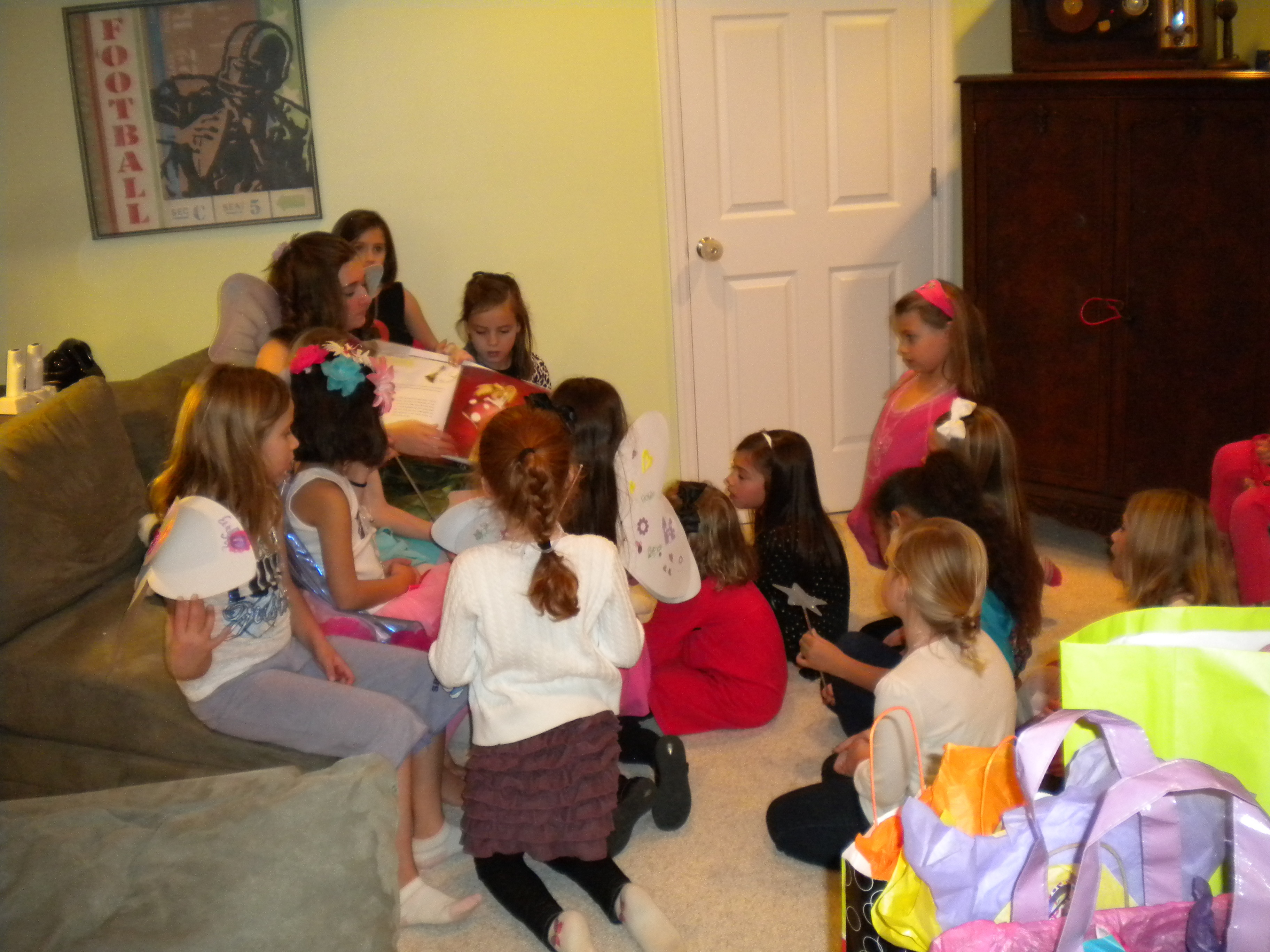 birthday activities for kids at home ; fairy-reading