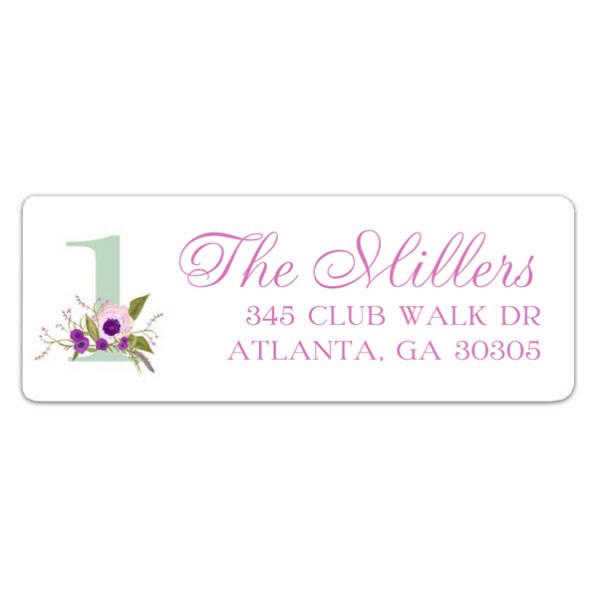 birthday address labels ; Floral-Feathers-Pink-1st-Birthday-Address-Labels-p-603-RL-24088-z