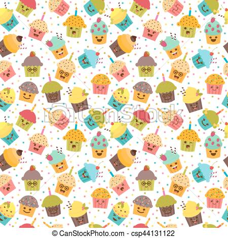 birthday background clipart ; birthday-background-kawaii-cupcakes-illustration_csp44131122