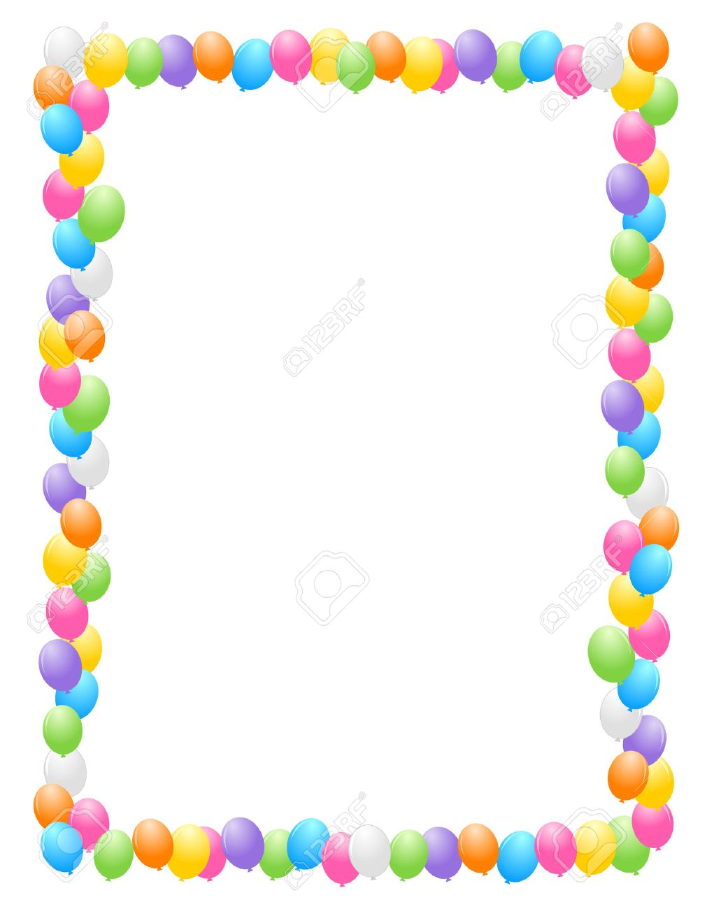 birthday balloon border ; 38545900-colorful-balloons-border-frame-illustration-for-birthday-cards-and-party-backgrounds-Stock-Photo