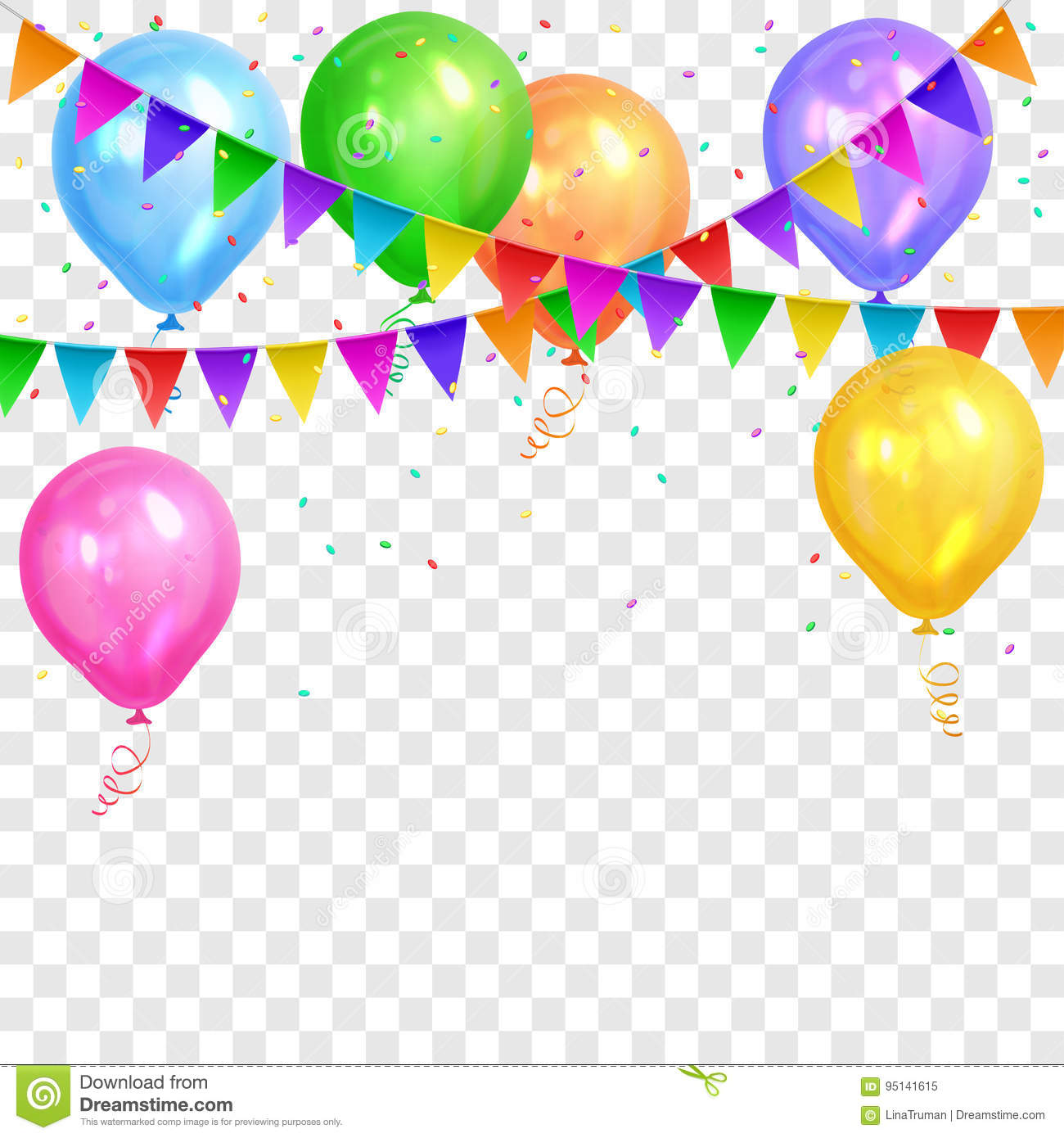 birthday balloon border ; border-realistic-colorful-helium-balloons-flags-garlands-transparent-background-party-decoration-frame-birthday-95141615