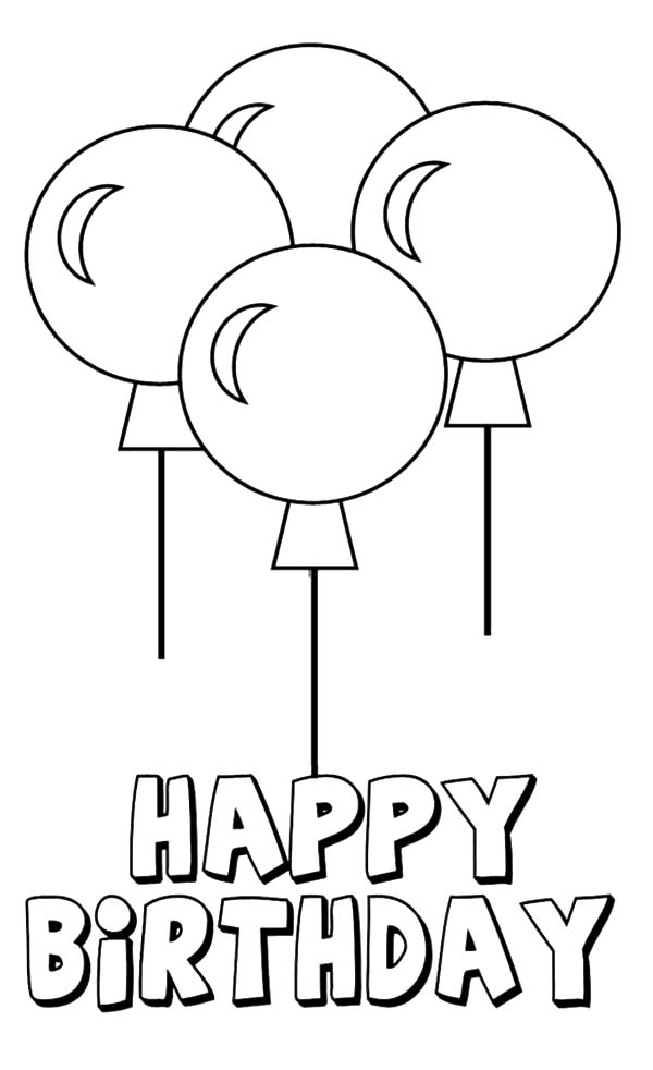 birthday balloon coloring pages ; Four-Beautiful-Birthday-Party-Balloons-Coloring-Pages