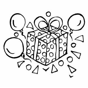 birthday balloon coloring pages ; Gift_And_Balloons