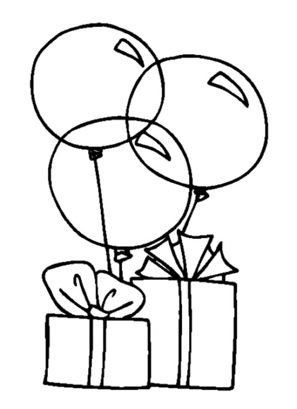 birthday balloons drawing ; Balloons-Tied-to-Birthday-Present-Coloring-Pages
