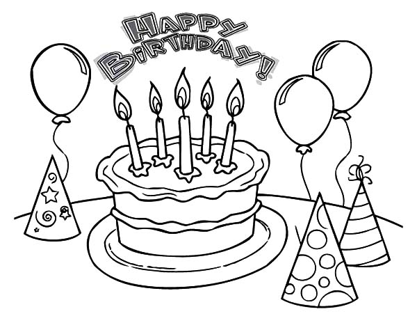 birthday balloons drawing ; Balloons-and-Pointed-Hat-with-Birthday-Cake-Coloring-Pages