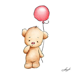 birthday balloons drawing ; baby-bear-with-red-balloon-anna-abramska