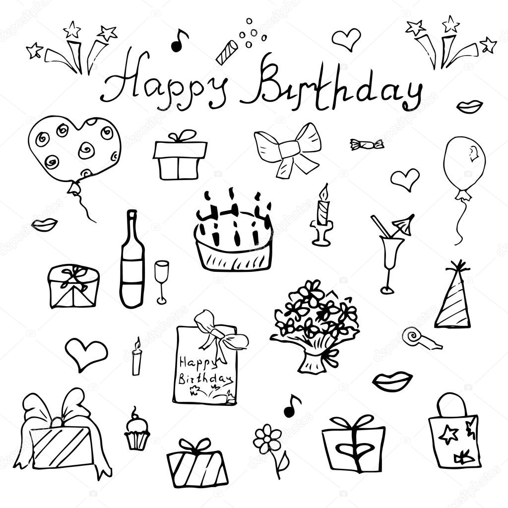 birthday balloons drawing ; depositphotos_74903453-stock-illustration-birthday-elements-hand-drawn-set