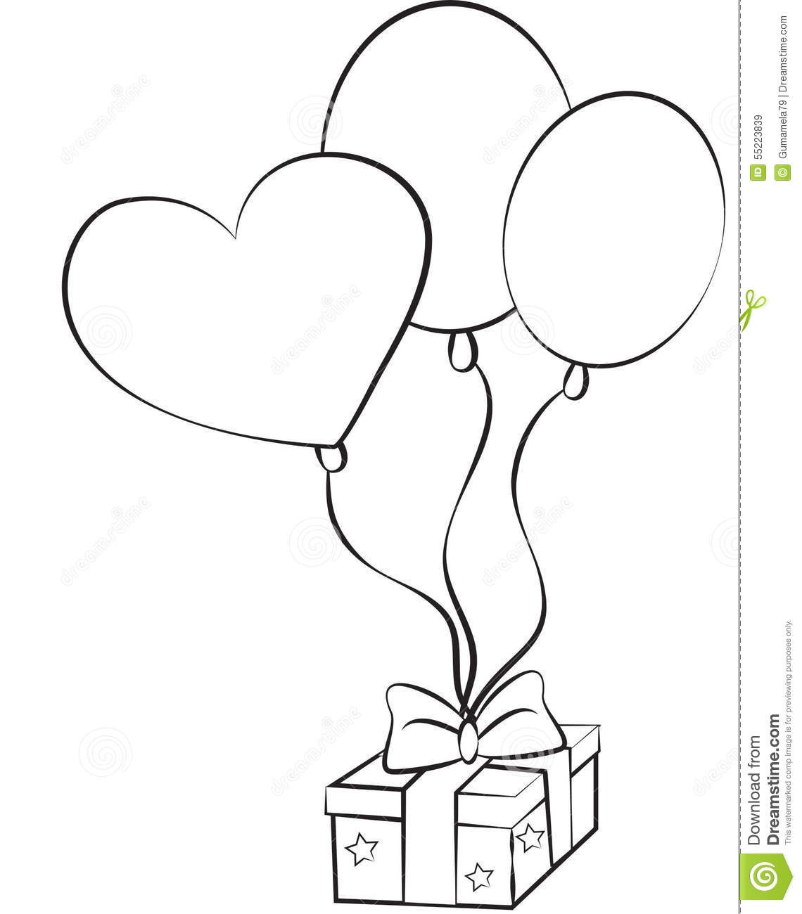 birthday balloons drawing ; stock-image-birthday-balloons-gift-illustrated-55223839