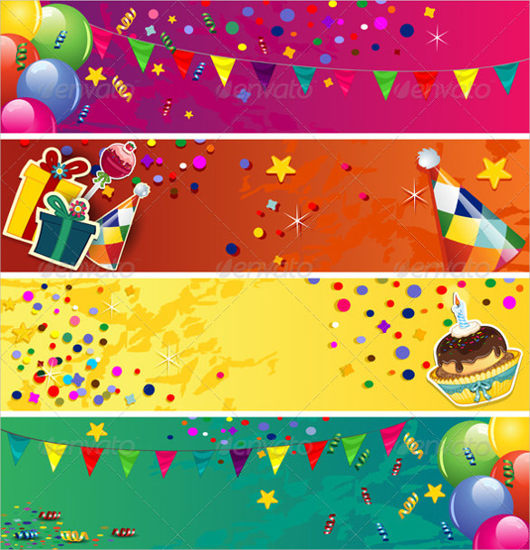 birthday banner design templates ; Birthday-Banner-Colorful-Template