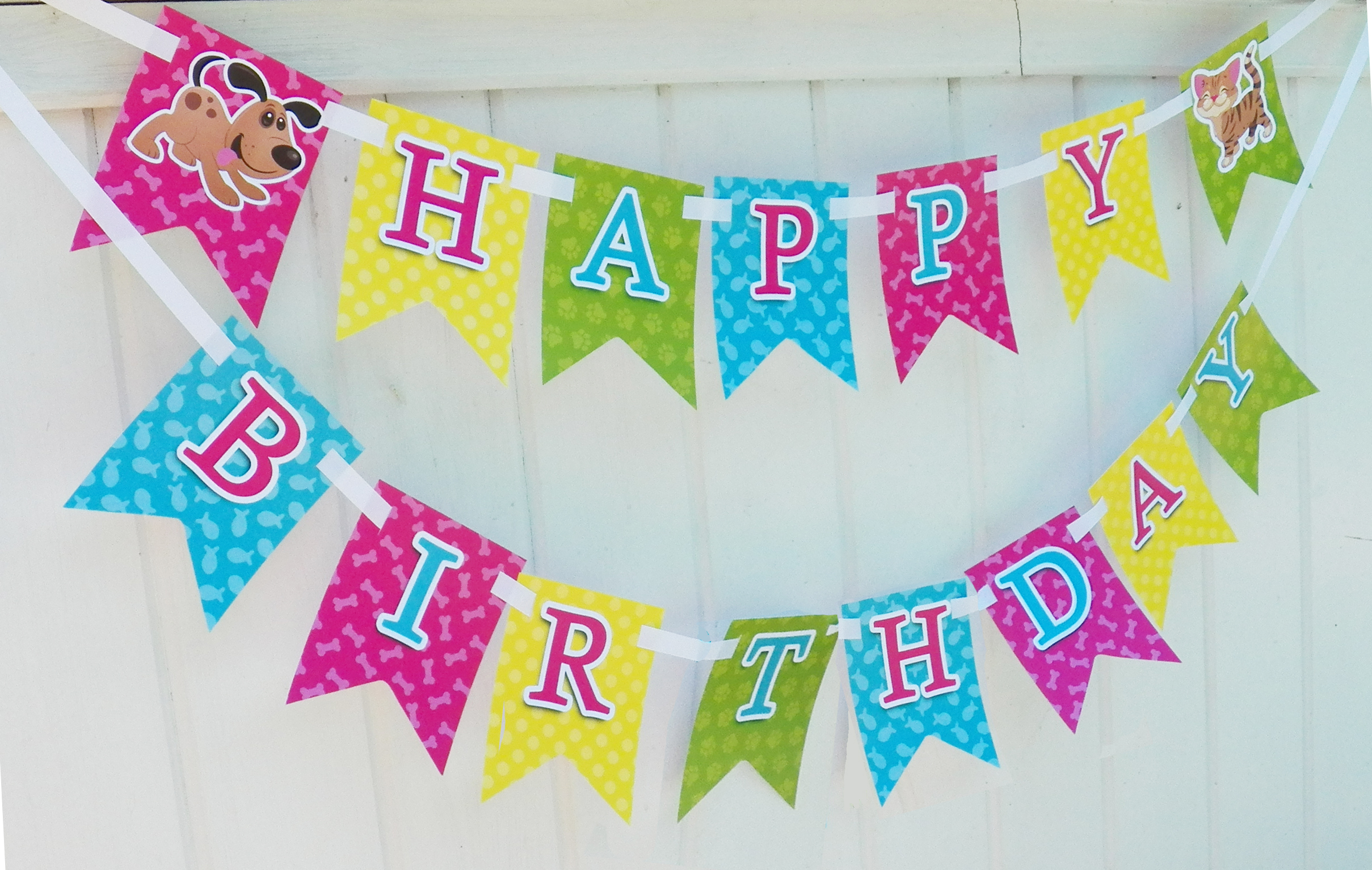 birthday banners and signs ; cat-and-dog-birthday-banner
