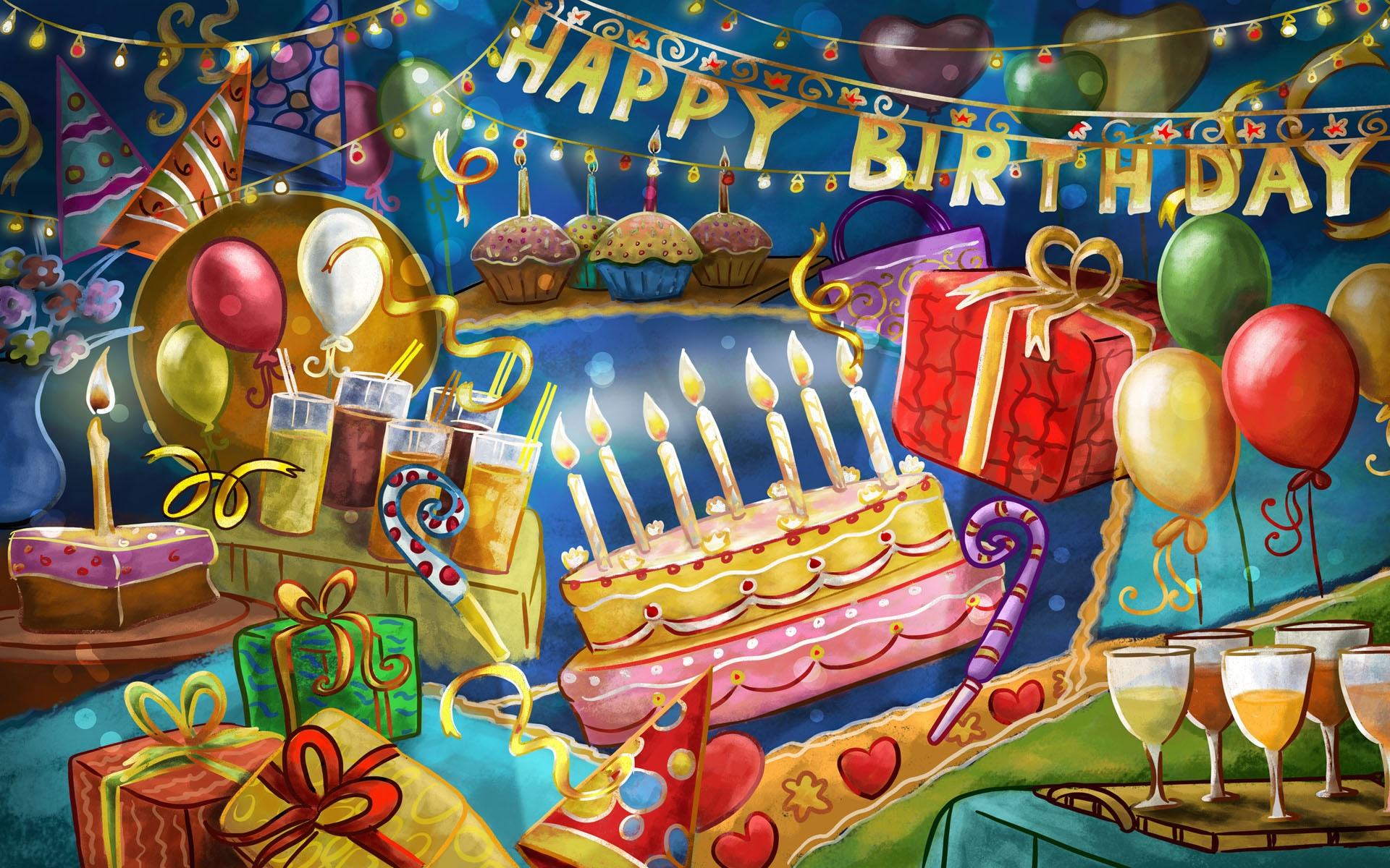 birthday bash wallpaper ; 221757