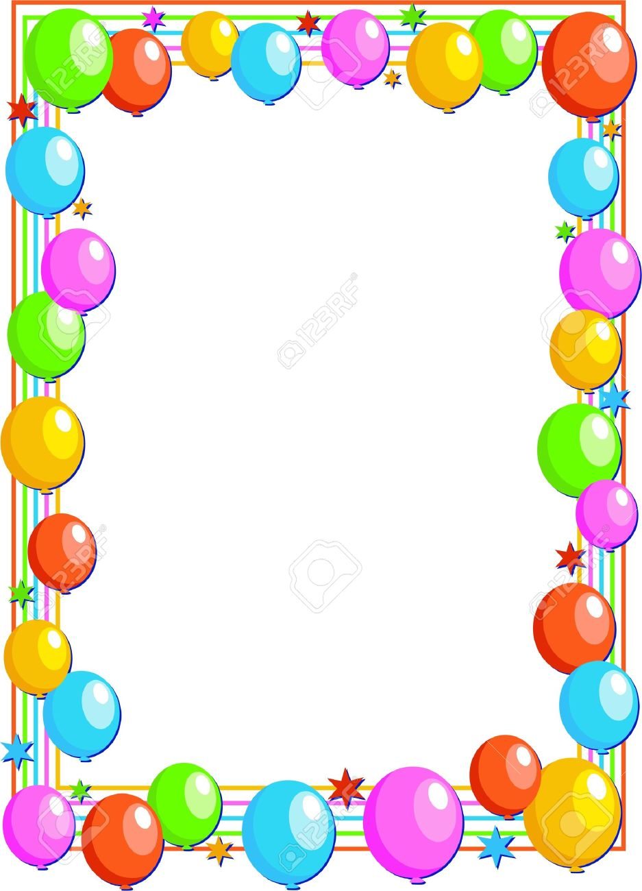 birthday border design ; 4599115-colourful-birthday-party-balloon-page-border-design-