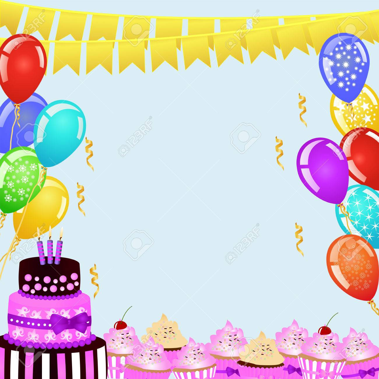 birthday border design ; 55410239-birthday-party-background-with-bunting-flags-balloons-birthday-cake-and-cupcakes-birthday-border-for