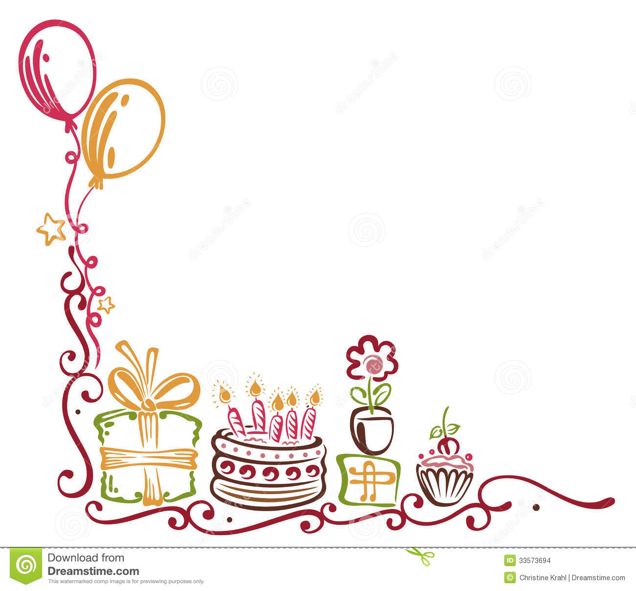 birthday border design ; birthday-border-colorful-tendril-balloons-33573694
