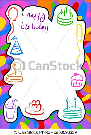 birthday border design ; birthday-border-drawings_csp0098339
