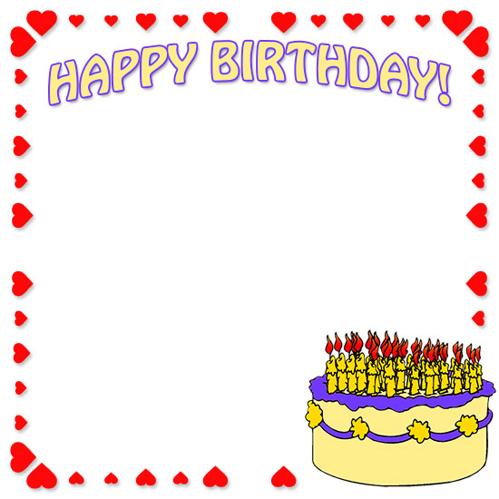 birthday border design ; happy-birthday-cake
