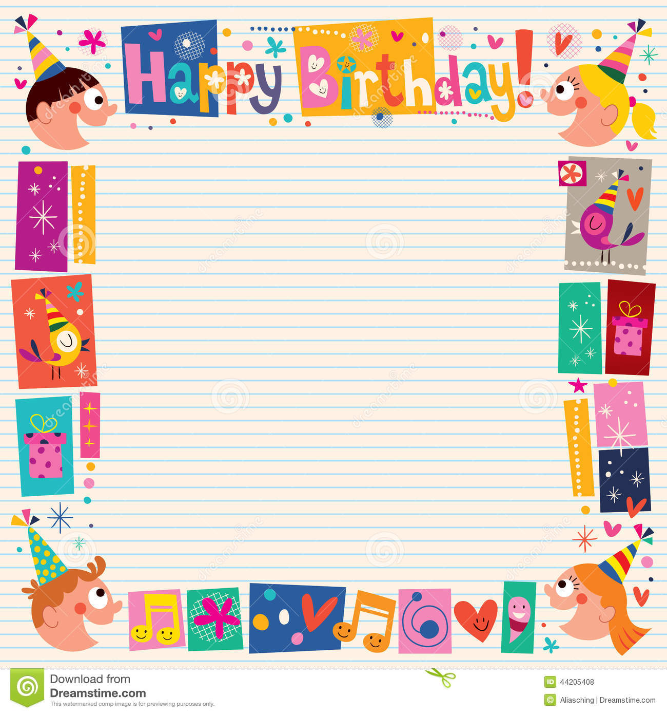 birthday border design ; happy-birthday-kids-decorative-border-design-element-44205408