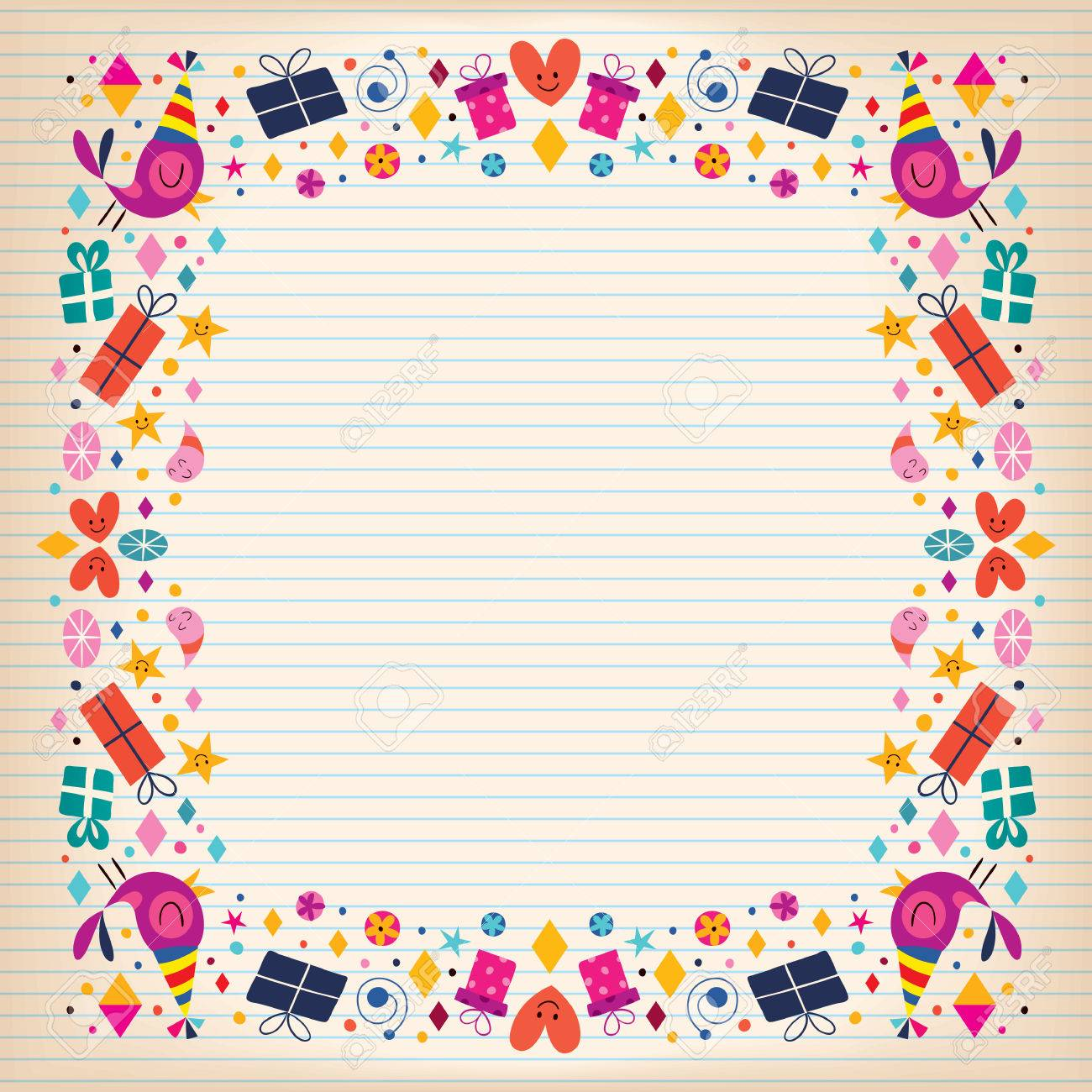 birthday border paper ; 32044777-happy-birthday-border-lined-paper-card-with-space-for-text-Stock-Photo