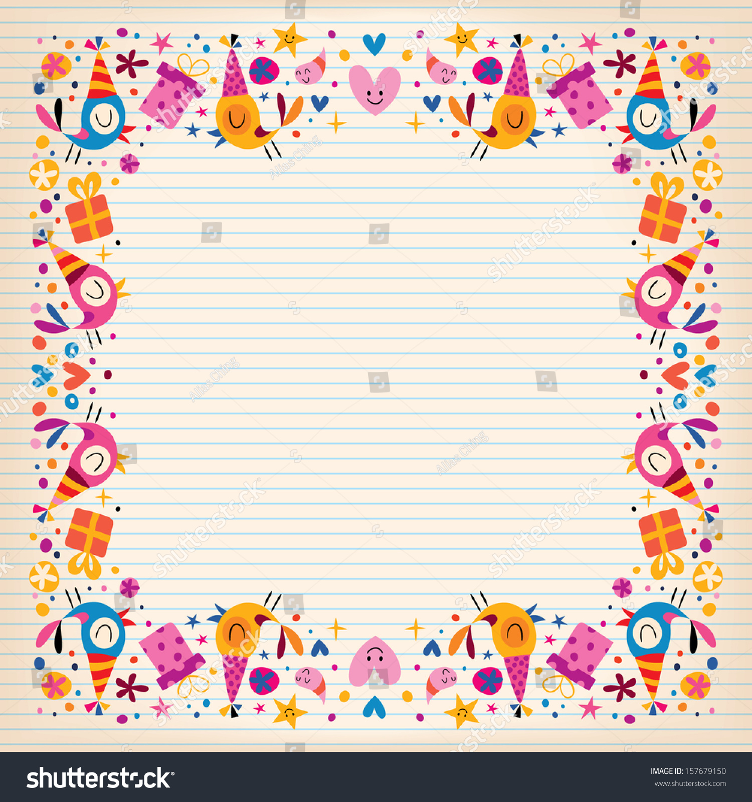 birthday border paper ; stock-vector-happy-birthday-border-lined-paper-card-with-space-for-text-157679150