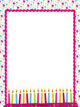 birthday borders for word documents ; Birthday_Candles_Party_Border