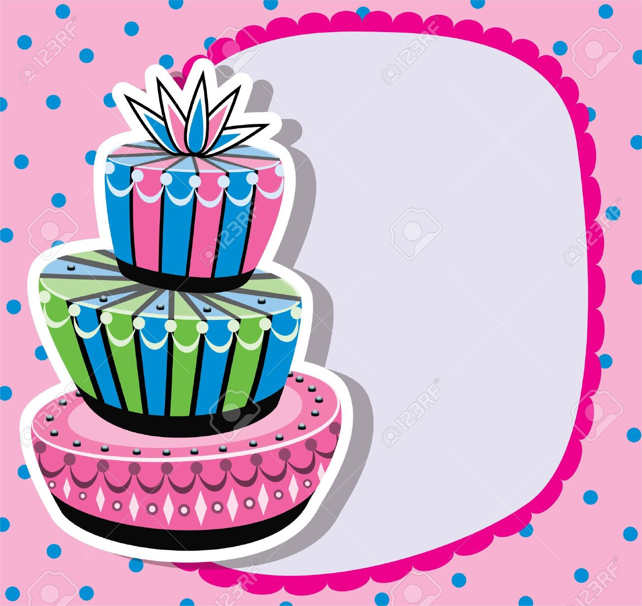 birthday cake borders ; 10476636-card-with-birthday-cake-and-copy-space