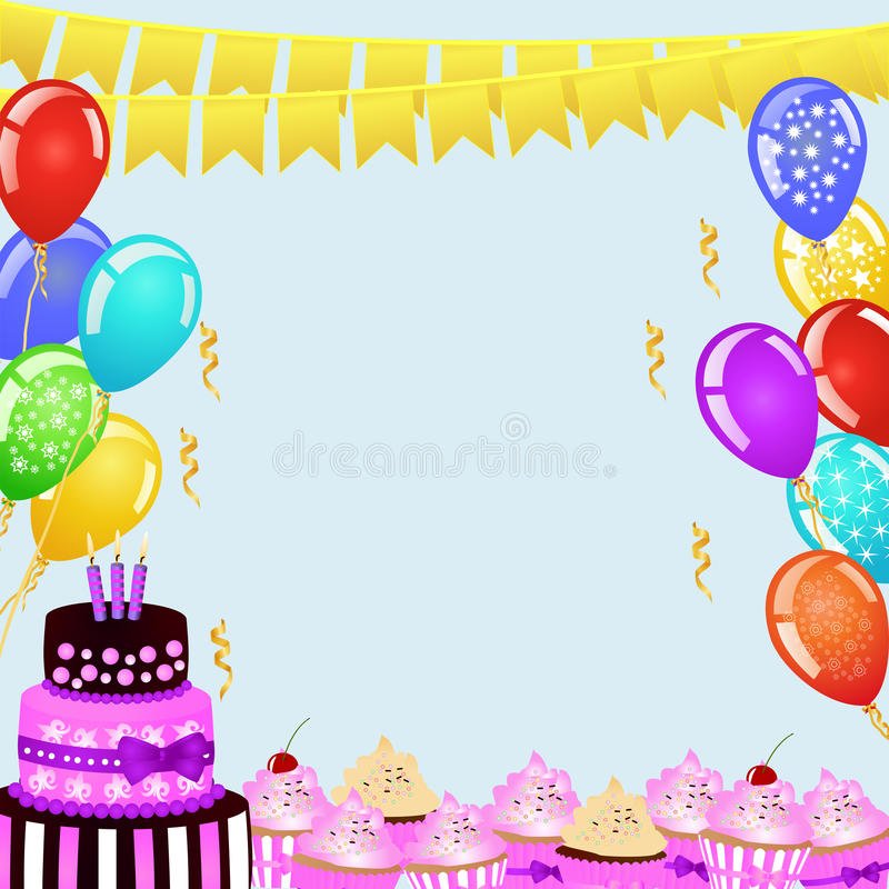 birthday cake borders ; birthday-party-background-bunting-flags-balloons-birthday-cake-cupcakes-border-your-design-festive-frame-70180071