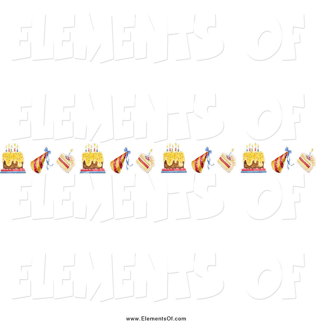 birthday cake borders ; vector-illustration-of-a-border-of-birthday-cakes-and-party-hats-by-gina-jane-17644