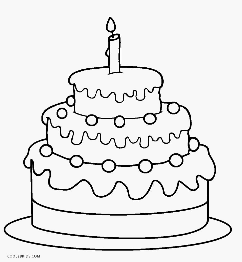 birthday cake coloring ; 1st-Birthday-Cake-Coloring-Page