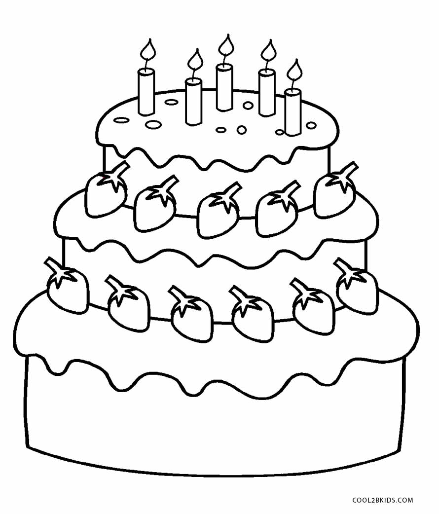 birthday cake coloring ; Birthday-Cake-Coloring-Pages-Printable