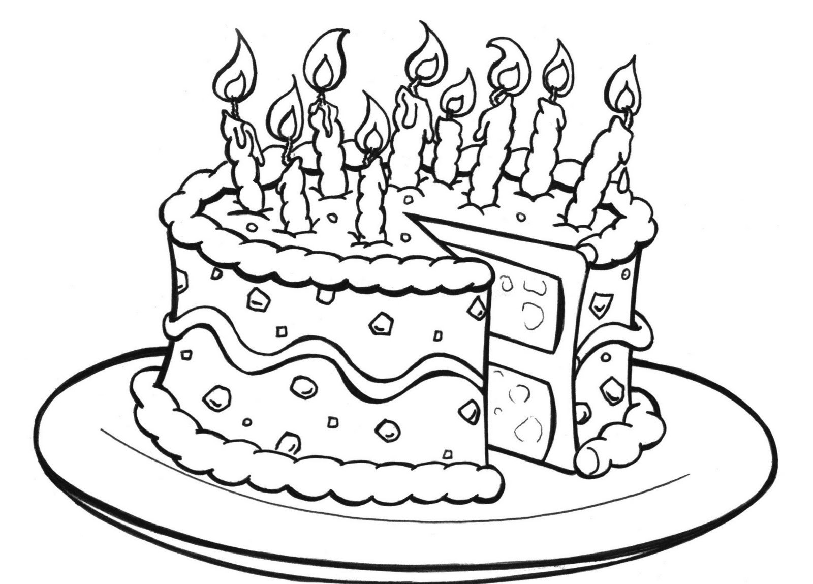 birthday cake coloring ; Birthday-cake-coloring-pages-on-plate