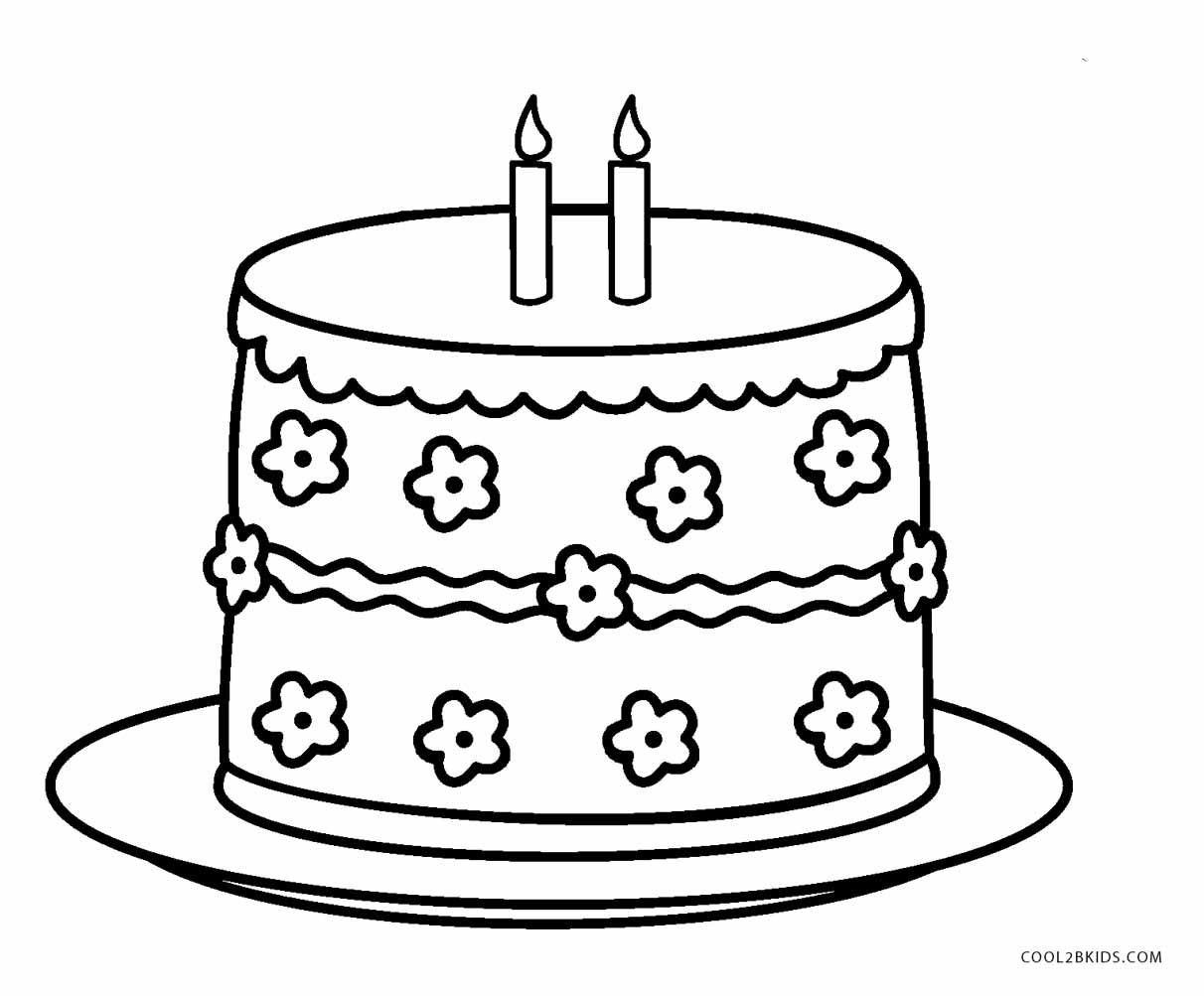 birthday cake coloring ; Printable-Birthday-Cake-Coloring-Page