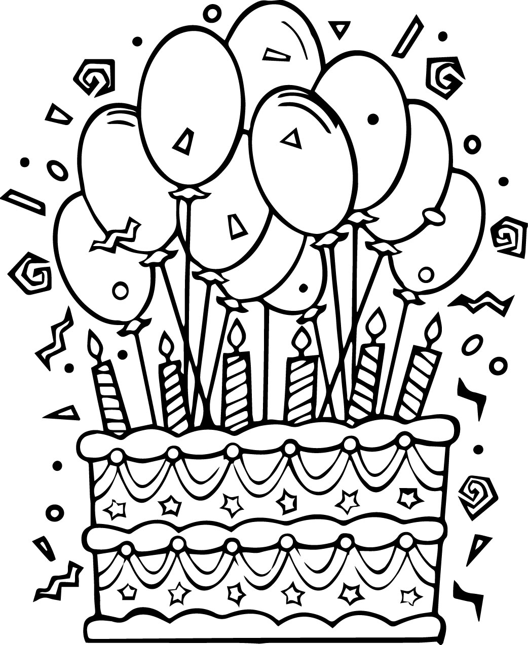 birthday cake coloring ; birthday-cake-coloring-page-03